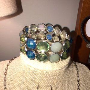 Jewelry set necklace earrings and bracelet blue